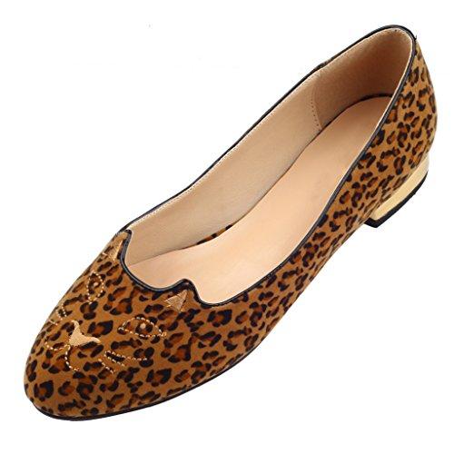 Jushee Mocasines de Terciopelo Para Mujer Multicolor Leopardo psx8uZYlKP