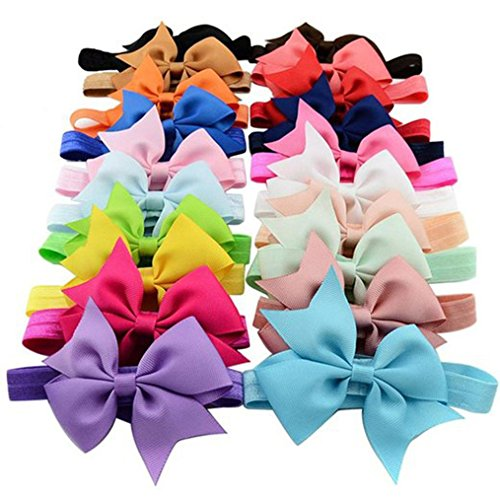 Clearance Deal! Baby Girls Kids Cute Bowknot Headbands Hair Bows Hair Band Accessories for Toddler Infant Gifts (Mixed Colors - 20 pcs)