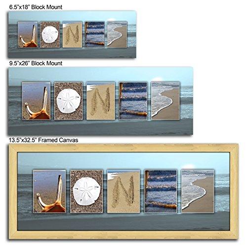 Personalized Coastal, Beach, Nautical Name Art Decor Gift. (Block Mount 9.5 x 26)