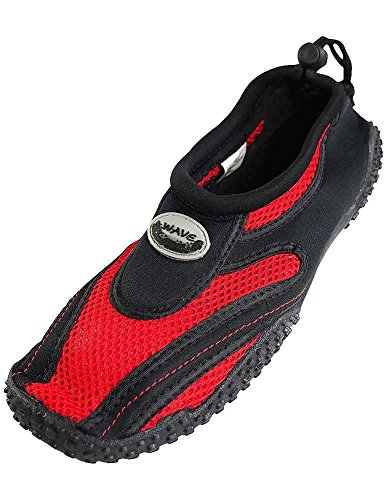 Women's Wave Water Shoes Pool Beach Aqua Socks,Yoga, Exercise (7, Black/Red)