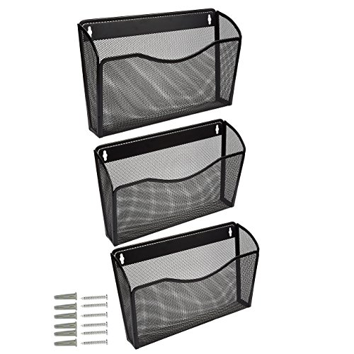 Juvale Hanging Wall File Organizer, 3-Pack - Bill, Mail, Inbox Organizer - Letter Holder, Black, 13.8 x 8.5 x 3.25 inches by Juvale
