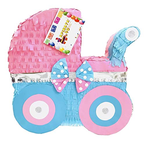 APINATA4U Pink & Blue Baby Carriage Gender Reveal Pinata]()