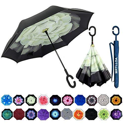 MRTLLOA Double Layer Inverted Umbrella with C-Shaped Handle, Anti-UV Waterproof Windproof Straight Umbrella for Car Rain Outdoor -