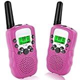 ANCICO Walkie Talkies for Kids, 22 Channel Two Way Radio 3 Miles (Up to 5Miles) Walkies Talkies , Long Range Wireless Handheld Mini Outdoor Camping Toys for Boys Girls( 1 Pair ) Pink