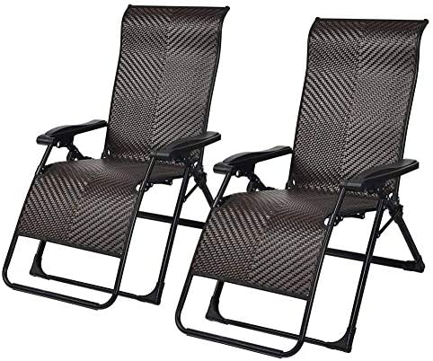 GLLSZ 2 Pack Rattan Wicker Folding Lounge Chair Adjustable Sunbathing Chair Zero Gravity Chair Patio Recliner Lounge Chair Outdoor Chaise Lounge Chair Beach A 2 Pack