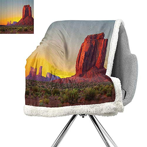 House Decor Blanket Small Quilt,Sunset in Famous Grand Canyon Archaic Natural Wonders of World Heritage Photo,Red Yellow,Digital Printing Blanket W59xL47 Inch ()