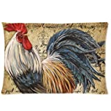 """Popular Vintage Rooster Art Decorative Pillow Covers Soft Pillowcase 20""""x 30"""" Inch Couch Zippered Throw Pillow Case(Twin Sides)"""