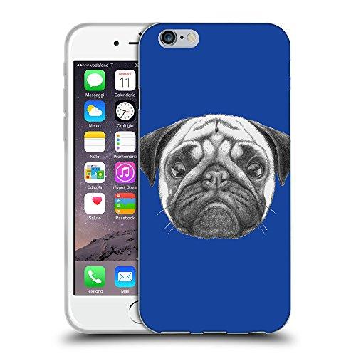 GoGoMobile Coque de Protection TPU Silicone Case pour // Q05440613 Chien pug Bleu // Apple iPhone 7