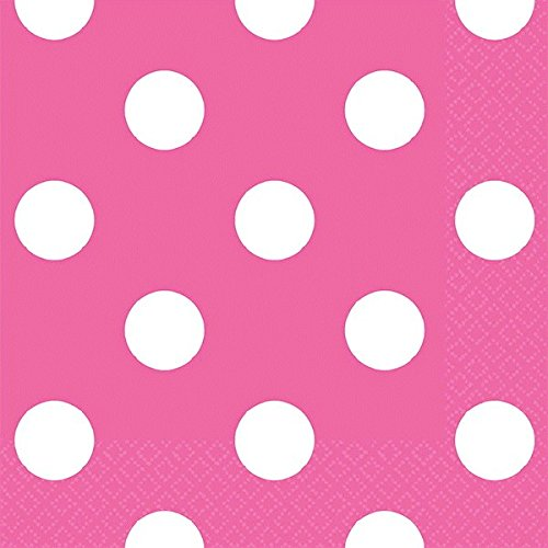 Bright Pink Party Supplies 5 x 5 Dots Beverage Napkins Amscan 501537.103 Disposable