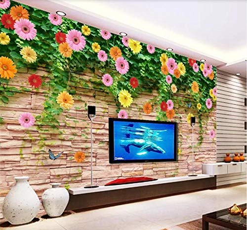 3D Mural Wallpaper Rose Chrysanthemum Tv Background Wall Mural Wallpaper Decoration,200Cmx140Cm