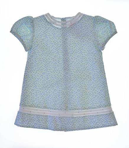 Carriage Boutiques Green - Carriage Boutique Baby Girl's Floral Dress With Mini Flowers And Hand Fagoting 12 Months Blue
