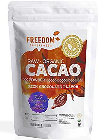 Organic Raw Cacao Powder - Best Dark Chocolate Taste - Pure Natural Unsweetened Cocoa 1lb/ 16oz - Hot Chocolate With Cocoa Powder