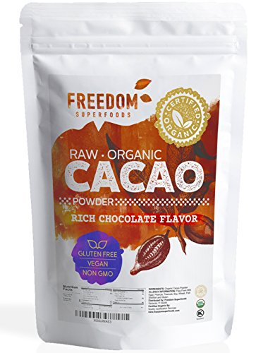 Organic Raw Cacao Powder - Best Dark Chocolate Taste - Pure Natural Unsweetened Cocoa 1lb/ - One Brands Square