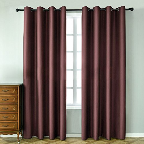 LOHASCASA Insulating Blackout Curtains Home Theater Curtains - Short 52 x 63 Inch Brown 1 Panel