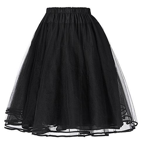 Cancán Enaguas Vestido Retro Miriñaque bp0229 Vintage Mujer Poque® Falda Tutú Black Belle de 1 para Tul Twz4Uvnq