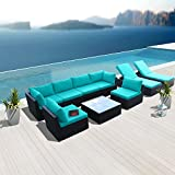 Modenzi 9G-U Outdoor Sectional Patio Furniture Espresso Brown Wicker Sofa Set (Turquoise)