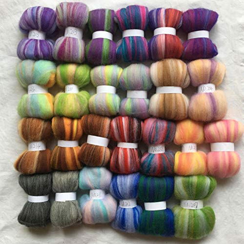 Maslin 25 Colors Australia 20um Sheep 100% Wool Fiber Needle Felting Wool for Felt Wool roving 10g/20g/50g/color - (Color: Total 250g)