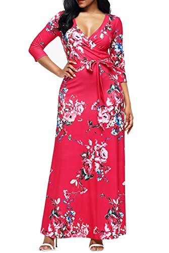 Dokotoo Womens Ladies Wrap Ladies Modest Fall Casual V Neck Floral Print Fit and Flare Maxi Long Sundresses Boho Red X-Large - Fall Print Dress