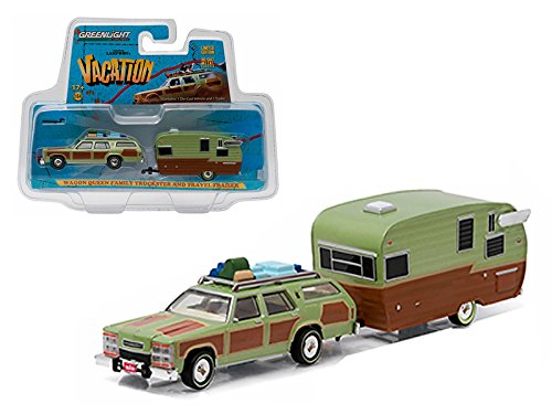 Greenlight 51036 1979 Family Truckster Wagon Queen National Lampoon's Vacation (1983) with Shasta 15' Airflyte Trailer 1/64 Diecast Model