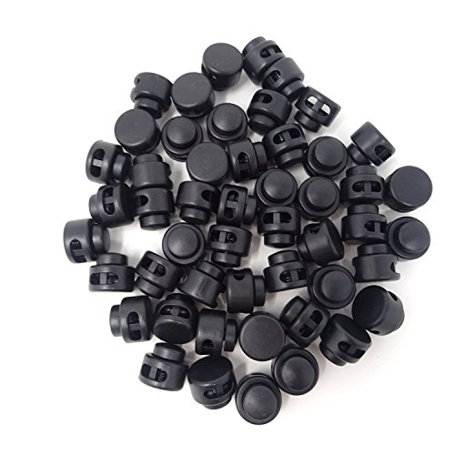 HONBAY 50PCS Black ABS Plastic Double Holes Spring Cord Locks,Cylinder Shape