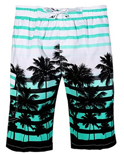 Men Trunks Swim - Newland Men's Colorful Stripe Coconut Tree Beach Shorts Swim Trunks Blue 35-36 waist