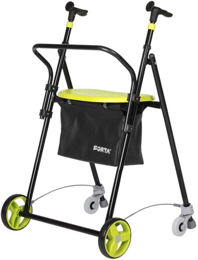 Andador para Ancianos, de acero plegable, con Frenos traseros, con Cesta Asiento y Respaldo, color pistacho