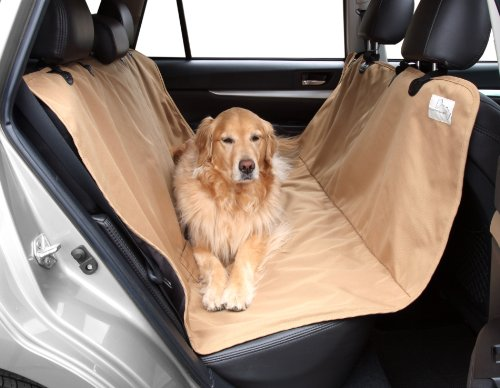"""Floppy Ears Design Waterproof Durable and Tough Pet Hammock Seat Cover, Tan, One Size, 54"""" W (across the seats) x 65"""""""