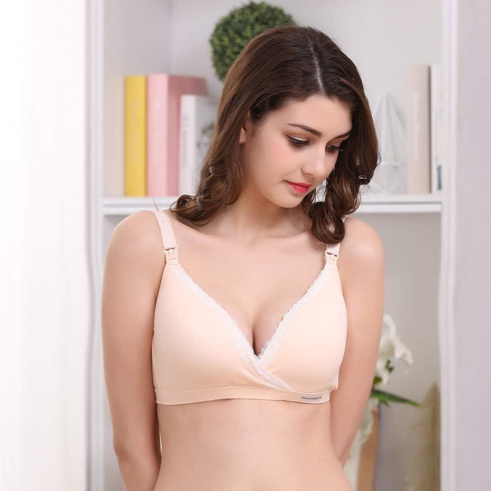 QinMM Sujetador De Lactancia y Premam/á sin Aros Encaje Bras para Mujer