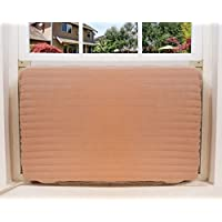 FreshAir Indoor Air Conditioner Cover – Quilted Beige Fabric Cover for Premium Home Insulation – Large Size to Fit Most - 18-20 H x 26-28 W x 2 D