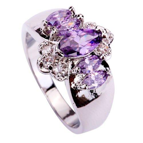 LanLan Fashion Designjewelry Amethyst Sapphire Gemstone Silver Color Size 7 8 9 10 Ring ,Size:1399/Size 10