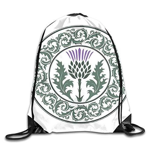 - Unisex Drawstring Bag Gym Bags Storage Backpack,Floral Ornamented Round Leaf Thistle As Symbol Of Scotland