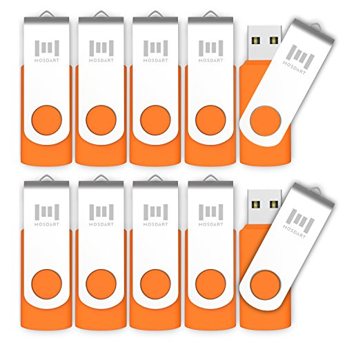 MOSDART 16GB 10 Pack Bulk USB 2.0 Flash Drives Swive Design Thumb Drives with Led Indicator,Orange 10pcs