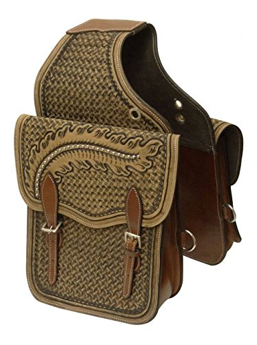 Showman Basket Weave And Feather Tooled Leather Saddle Bag