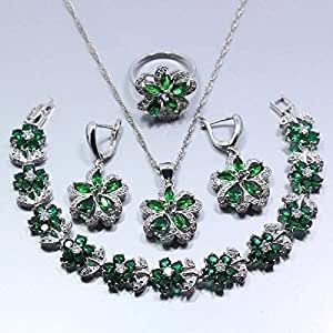 Green Jewelry Set Earrings, bracelet Ring size 7, Necklace Pendant