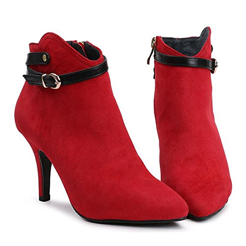 Stivali Red opaca con Fine nudi Tacchi RED Stivali Autunno E alti appuntito Inverno Stivali nudi stivali 40 37 femminili Donne Pelle xwqOpfTT