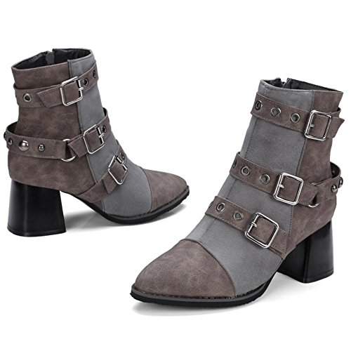 COOLCEPT Women Stylish Bootie Boots Zipper Gray FErJFq