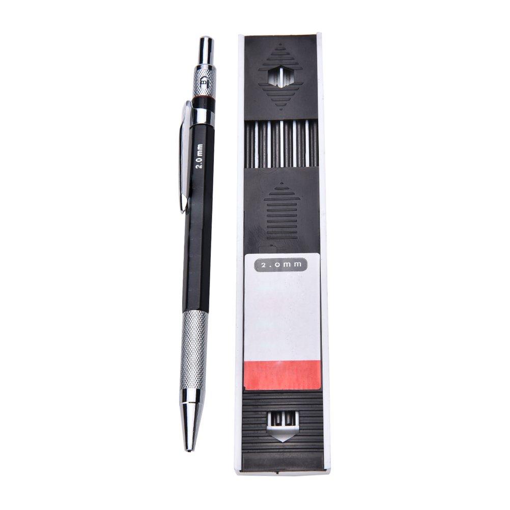 Bravewind 2/pz 2.0/mm 2B portamine per metallo automatico matita meccanica e 24/mine ricariche per bozze Carpenter progetti di disegno