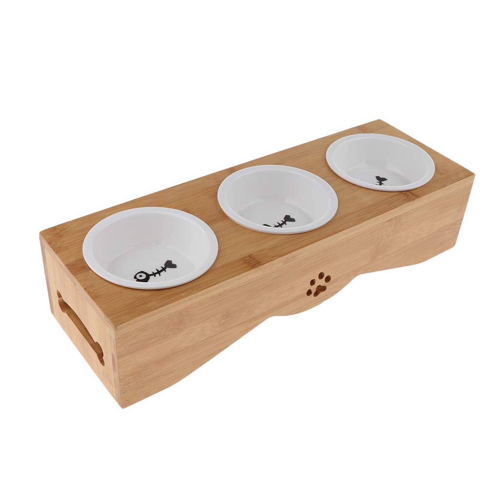 Baoblaze Bamboo Stand Elevated Pet Bowls w Stand for Dogs Puppies Cats(3 Bowls)