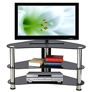 Popamazing Modern Corner TV Stand Cabinet Unit  Glass Storage Shelf Chrome Legs – Perfectly fine mines did arrived scratched though and as it was