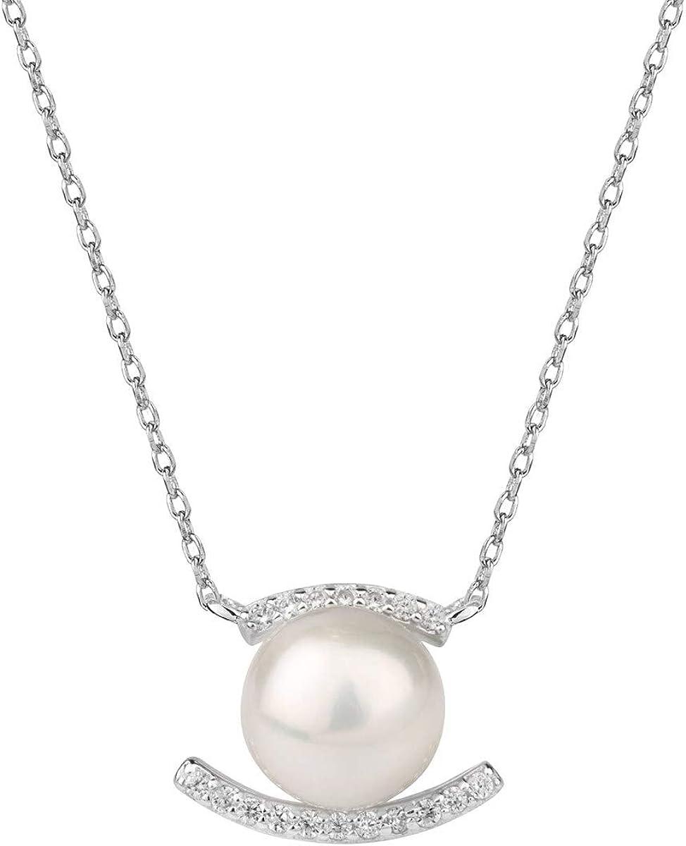 VIDAL & VIDAL Collar Circonitas y Perla Cultivada con Cadena