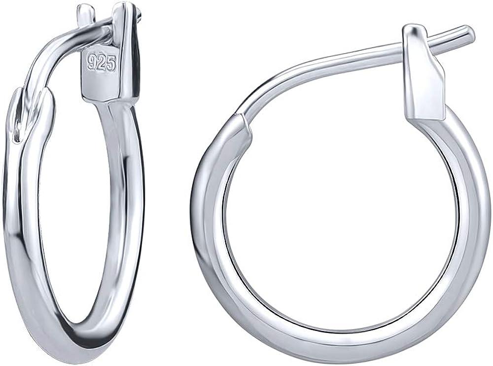 AoedeJ 925 Sterling Silver Hoop Earrings, High Polished Round Tiny Click-Top Hoop Earrings, Small Clasp Hoop Piercing Earrings