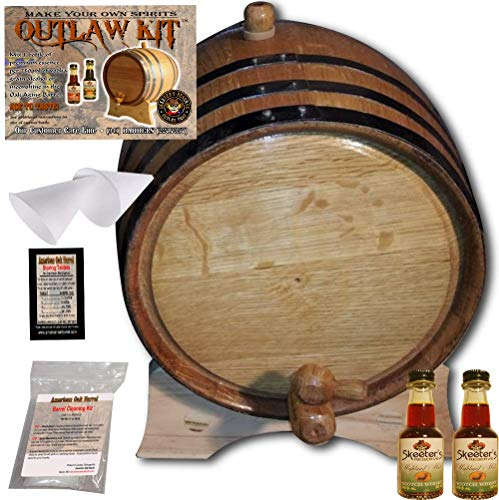 Barrel Aged Whiskey Making Kit – Create Your Own Highland Malt Scotch Whisky – The Outlaw Kit from Skeeter s Reserve Outlaw Gear – MADE BY American Oak Barrel Natural Oak, Black Hoops, 2 Liter