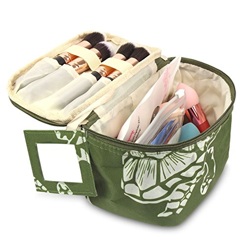 Zodaca Travel Cosmetic Organizer Carry Bag, Green Turtle