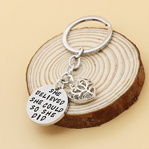 Family Friend Gift Silver She Believed She Could So She Did Double Pendant Key Chain Ring for Women Girl Photo #4