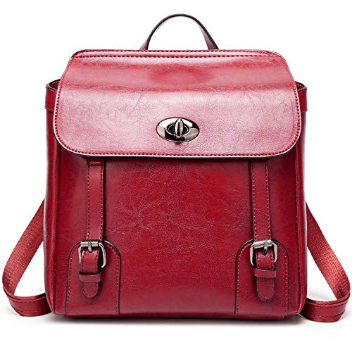 Ladies Leather Women School for Lightweight Shoulder PU Backpack Girls Purse Red ACLULION Bag Bag Xqqtxp6