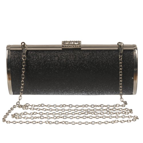 Women's Glittery Rectangle Hard Shell Clutch Purse by Crystale Jewellery Inc. Black, Bags Central