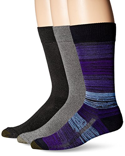Gold Toe Men's Performance Free Feed Stripe Crew 3-Pack Sock, Blackberry/Charcoal/Black, Sock Size: 10-13/Shoe Size:9-11