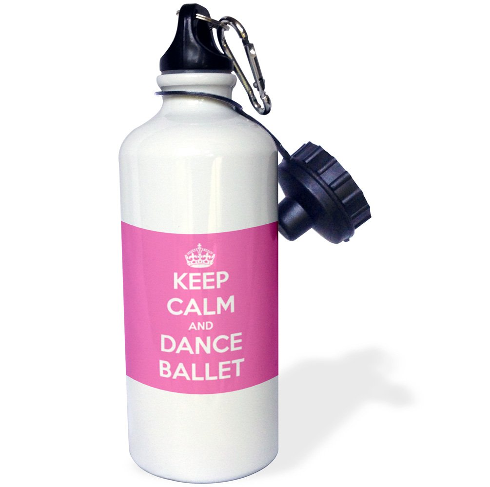 3dRose wb_163927_1 Keep Calm and Dance Ballet, Pink and White Sports Water Bottle, 21 oz, White
