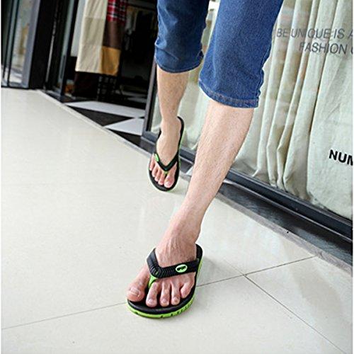 Mens Pantoufles Sandales Plates Flip Flops Plage Été Chaussures Casual Orange Et Marron