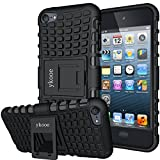 ykooe iPod Touch 5 Case,Touch 6 Case, Heavy Duty Protective Cover Dual Layer Hybrid Shockproof Protective Case with Stand for Apple iPod Touch 5 6 (Black)